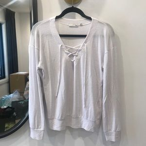 Wilfred free lace up light white sweater